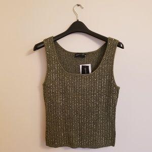 Dana Buchman Green Sequinned Convertible Sweater